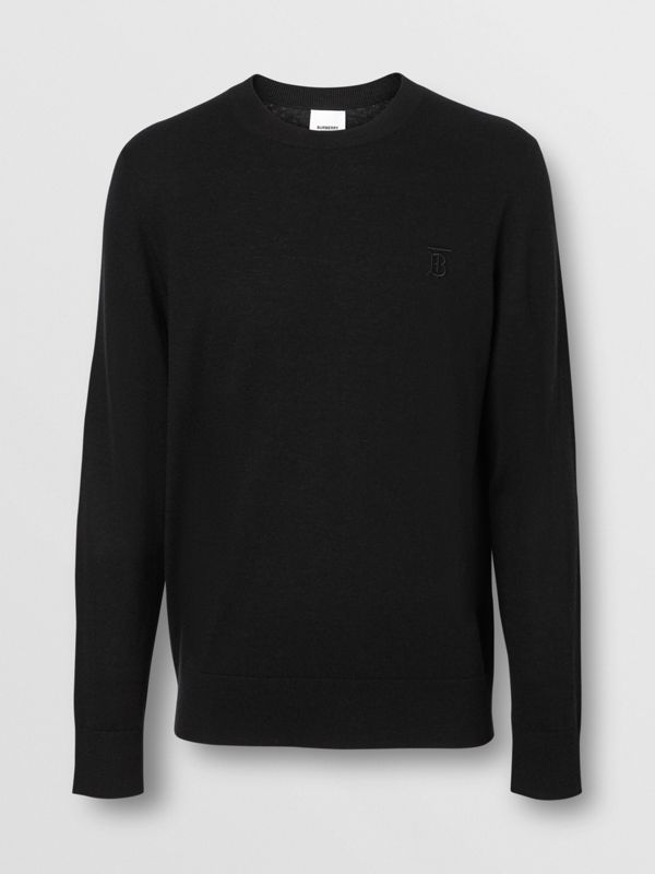 Monogram Motif Cashmere Sweater in Black - Men | Burberry Hong Kong - cell image 3