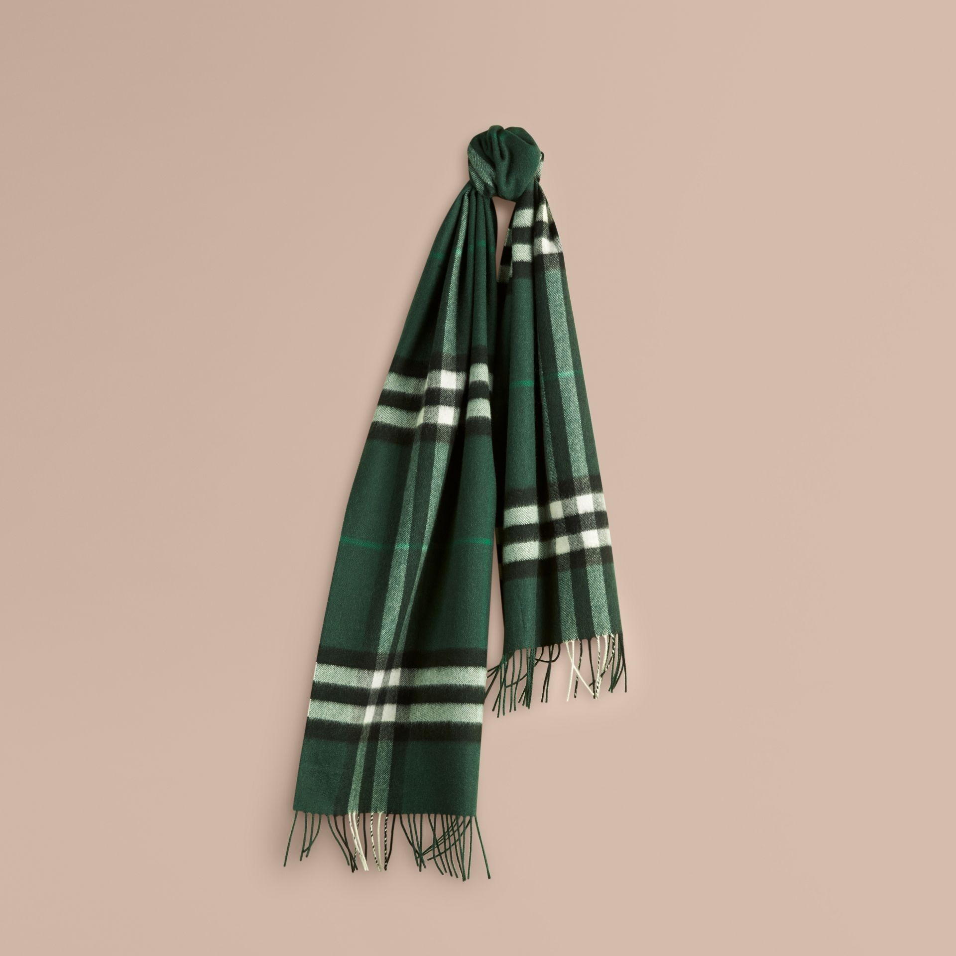 The Classic Cashmere Scarf in Check Dark Forest Green - gallery image 6