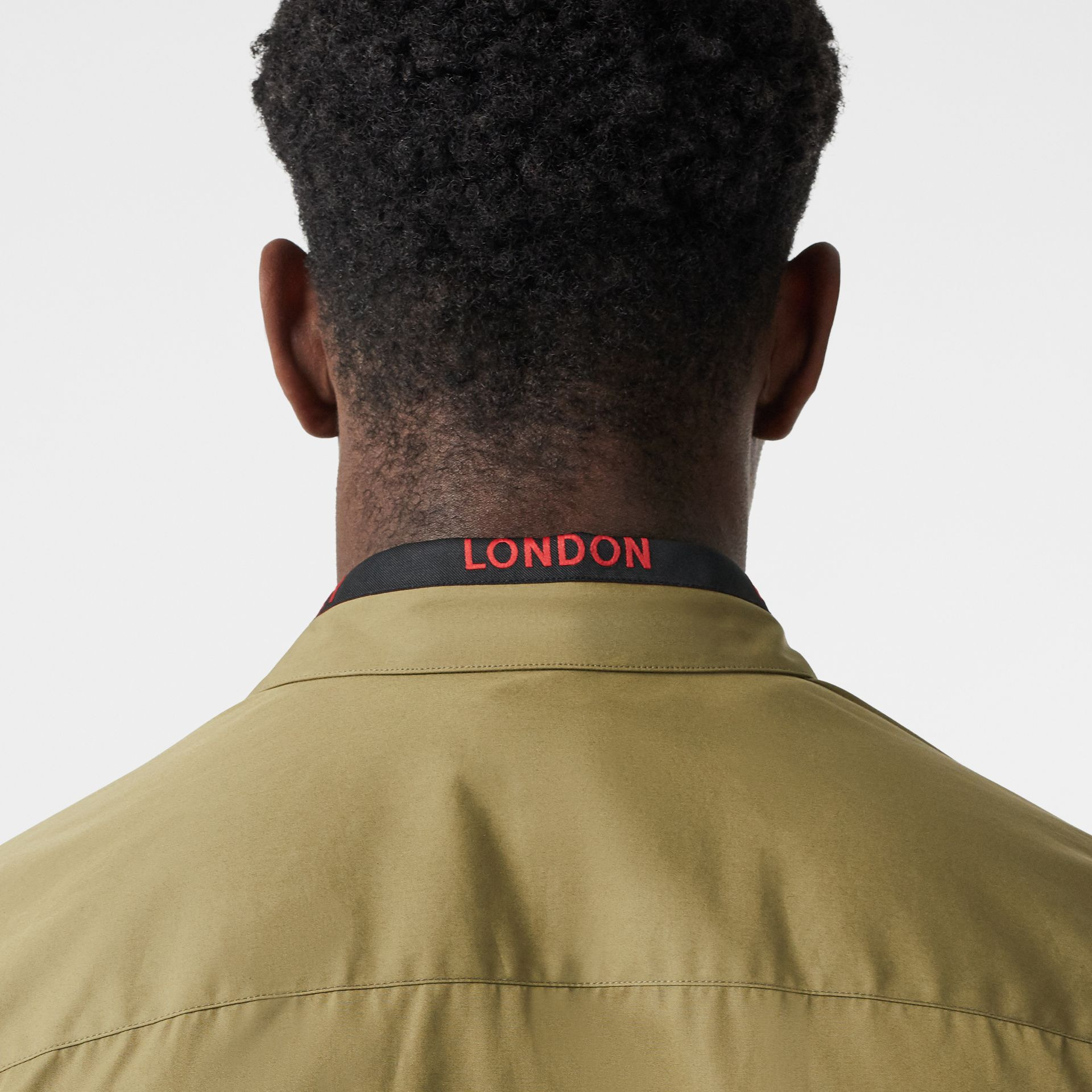 Logo Detail Cotton Poplin Shirt in Utility Green - Men | Burberry Canada - gallery image 4