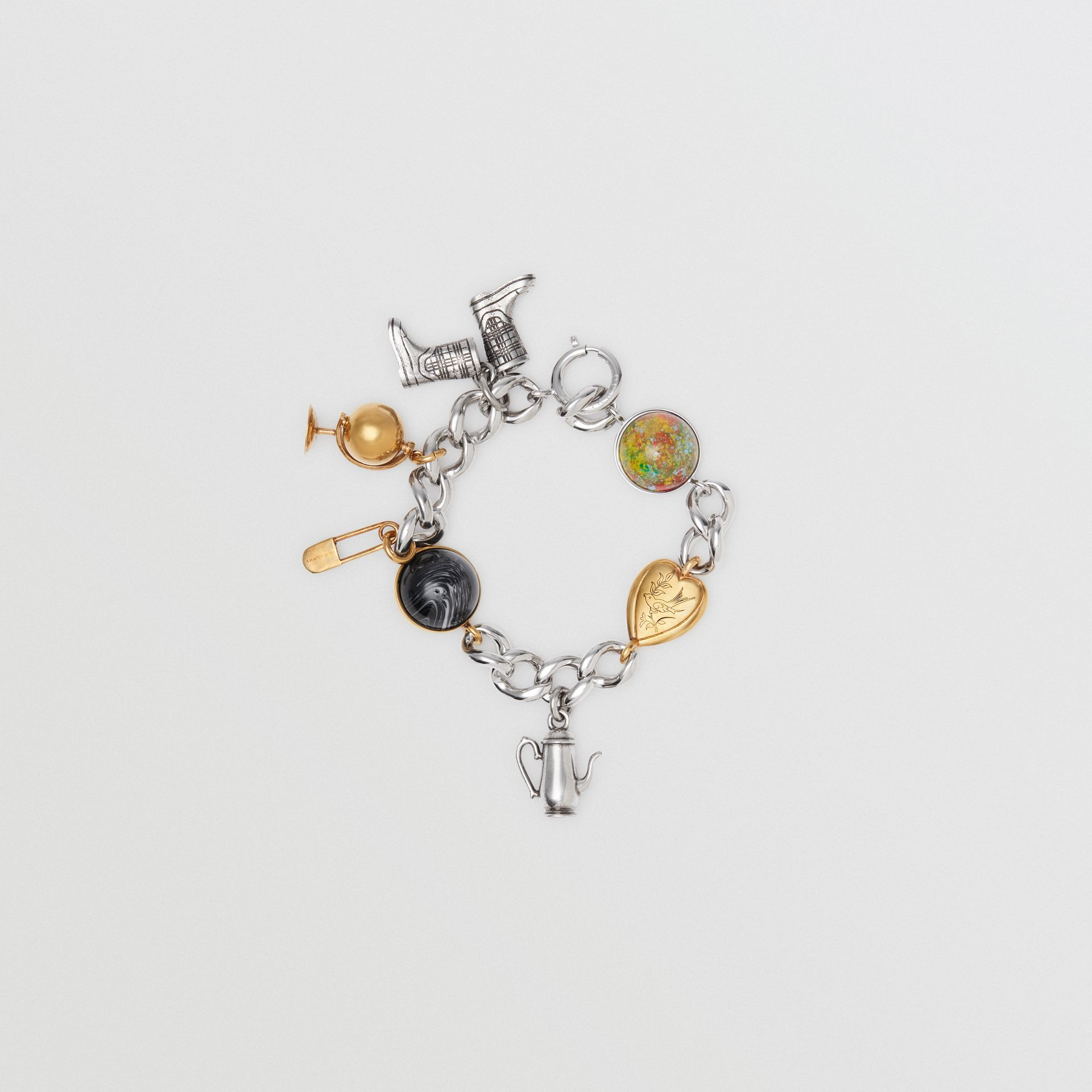 Marbled Resin Charm Chain Bracelet in Palladio - Women | Burberry United States - gallery image 0