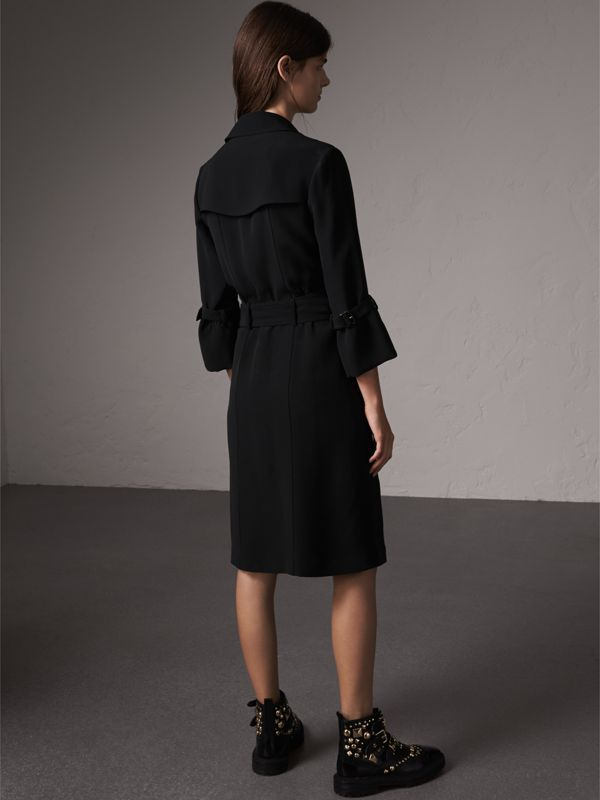 Silk Georgette Trench Wrap Dress in Black - Women | Burberry - cell image 2