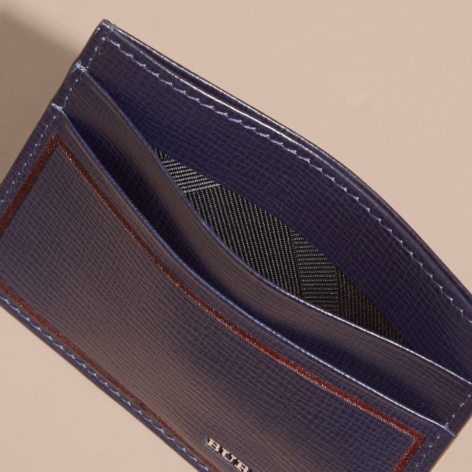 Border Detail London Leather Card Case in Dark Navy - gallery image 4