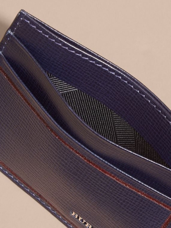 Border Detail London Leather Card Case Dark Navy - cell image 3