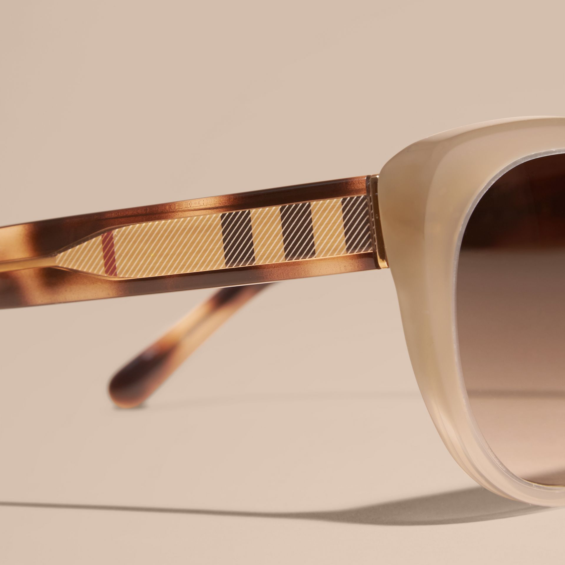 Check Detail Cat-eye Sunglasses in Chino Grey - Women | Burberry Canada - gallery image 2
