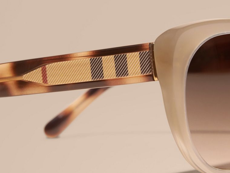 Check Detail Cat-eye Sunglasses in Chino Grey - Women | Burberry - cell image 1
