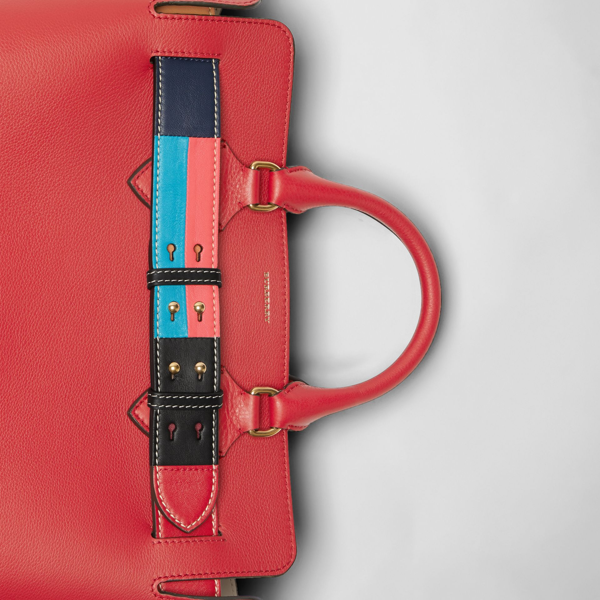 The Medium Leather Colour Block Detail Belt Bag in Bright Crimson Pink - Women | Burberry - gallery image 1