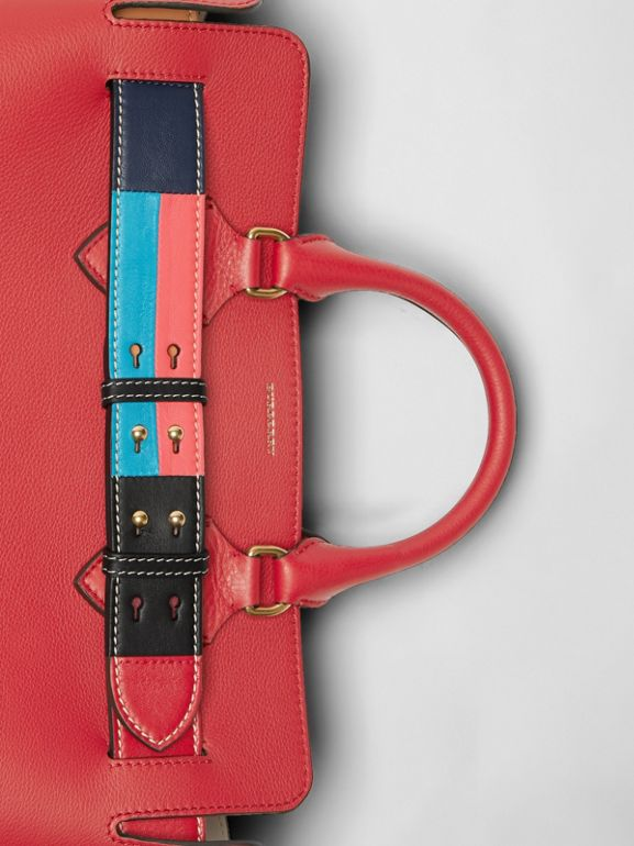The Medium Leather Colour Block Detail Belt Bag in Bright Crimson Pink - Women | Burberry - cell image 1