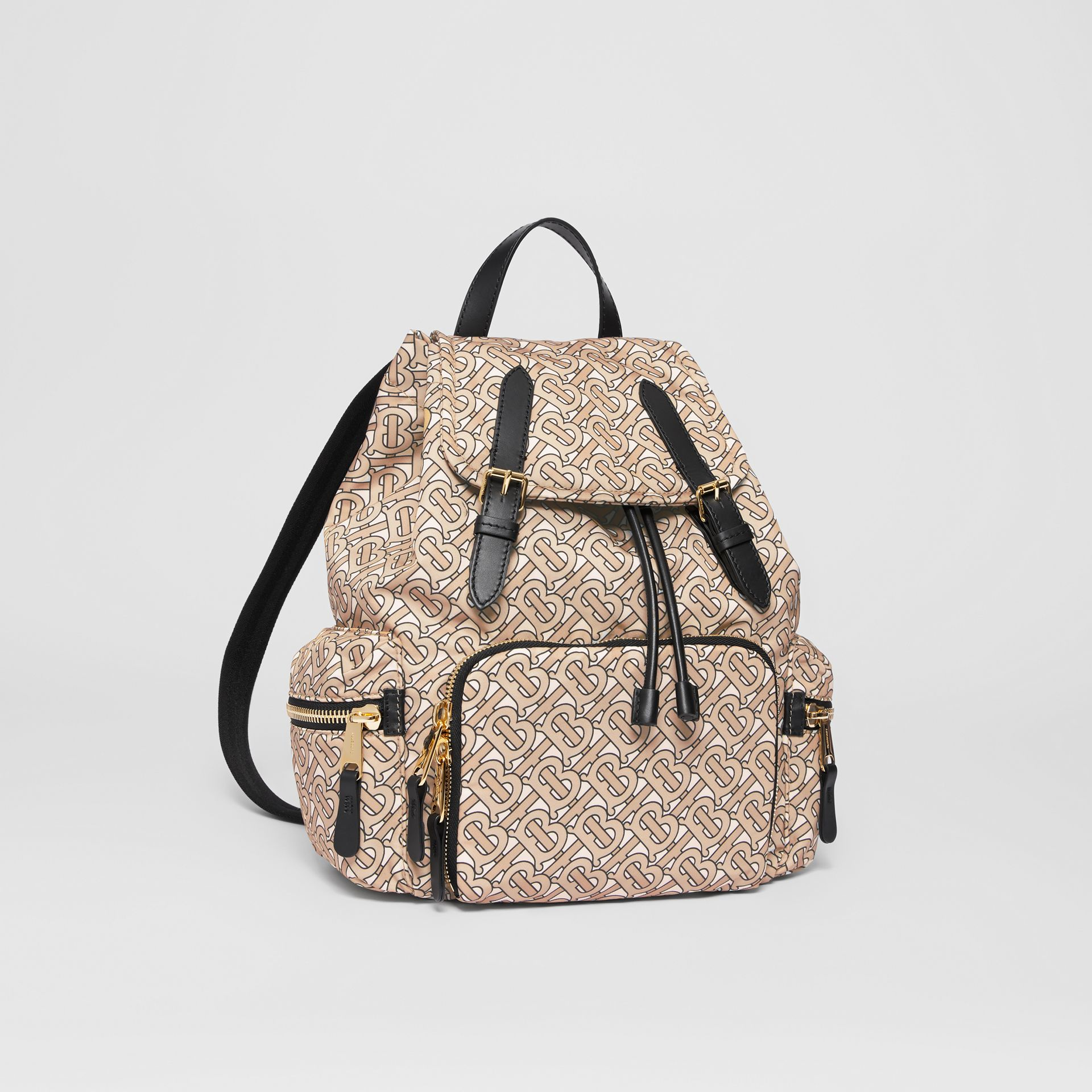 The Medium Rucksack in Monogram Print Nylon in Beige - Women | Burberry Australia - gallery image 6