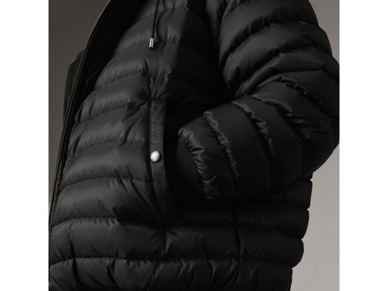 Reversible Down-filled Hooded Bomber Jacket in Black - Women | Burberry Australia - cell image 1