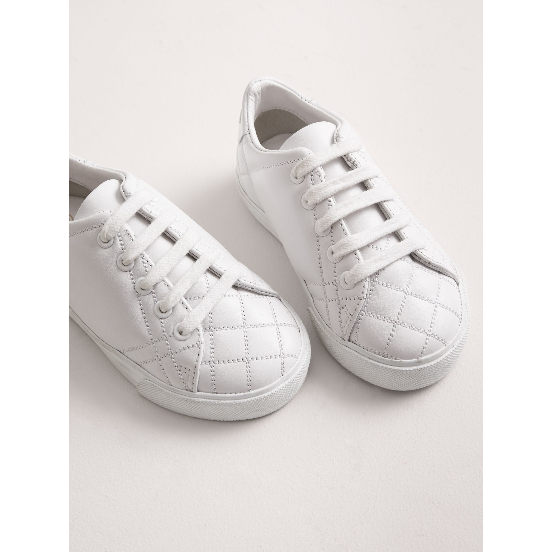 Check Detail Leather Sneakers in Optic White - Children | Burberry - gallery image 3
