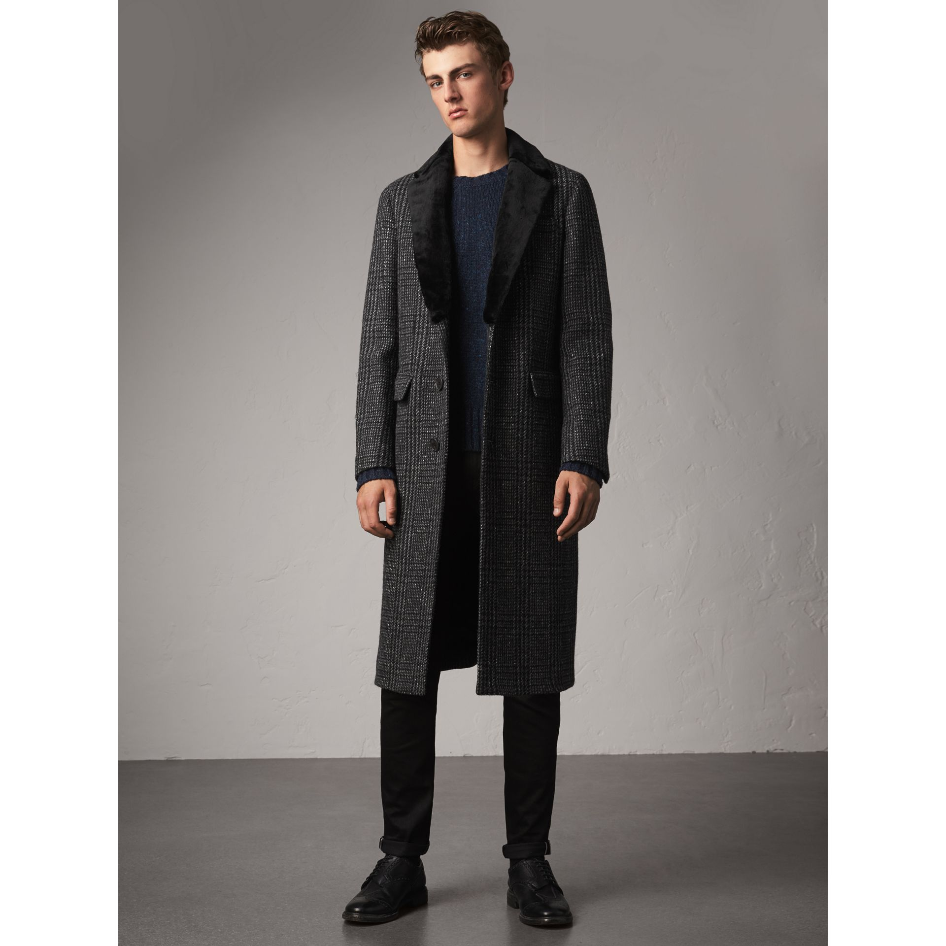 Detachable Mink Collar Check Wool Tailored Coat in Charcoal - Men | Burberry United Kingdom - gallery image 6