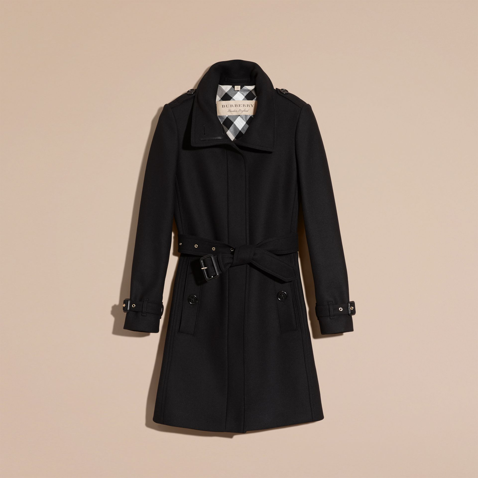 Black Technical Wool Cashmere Funnel Neck Coat Black - gallery image 4