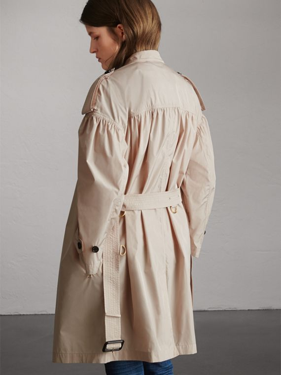 Lightweight Ruched Coat in Antique Taupe Pink - Women | Burberry Singapore - cell image 2