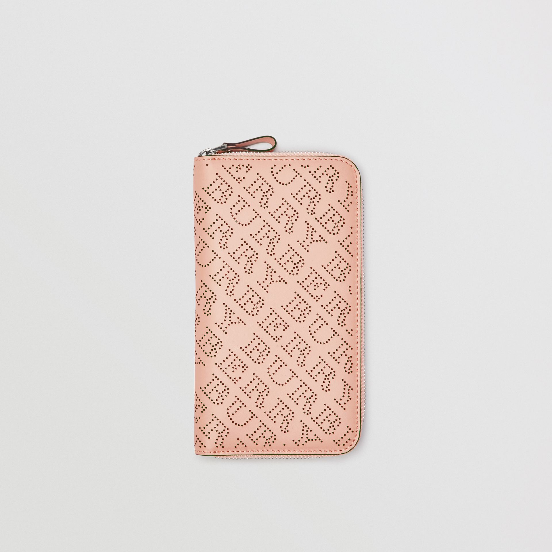 Perforated Leather Ziparound Wallet in Pale Fawn Pink - Women | Burberry - gallery image 0