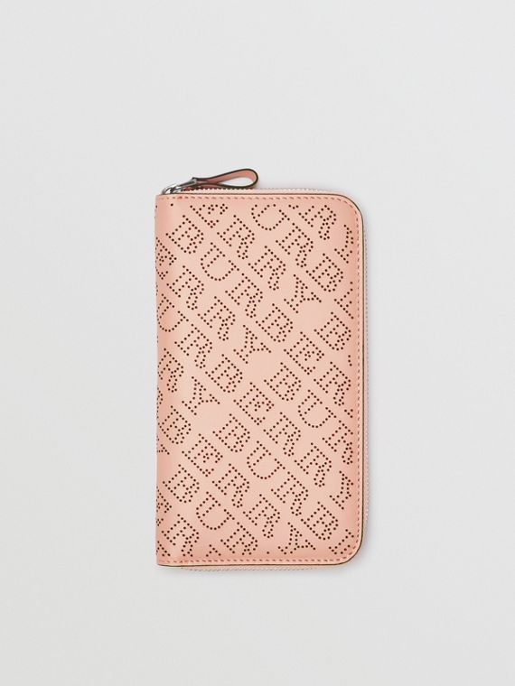 Perforated Leather Ziparound Wallet in Pale Fawn Pink