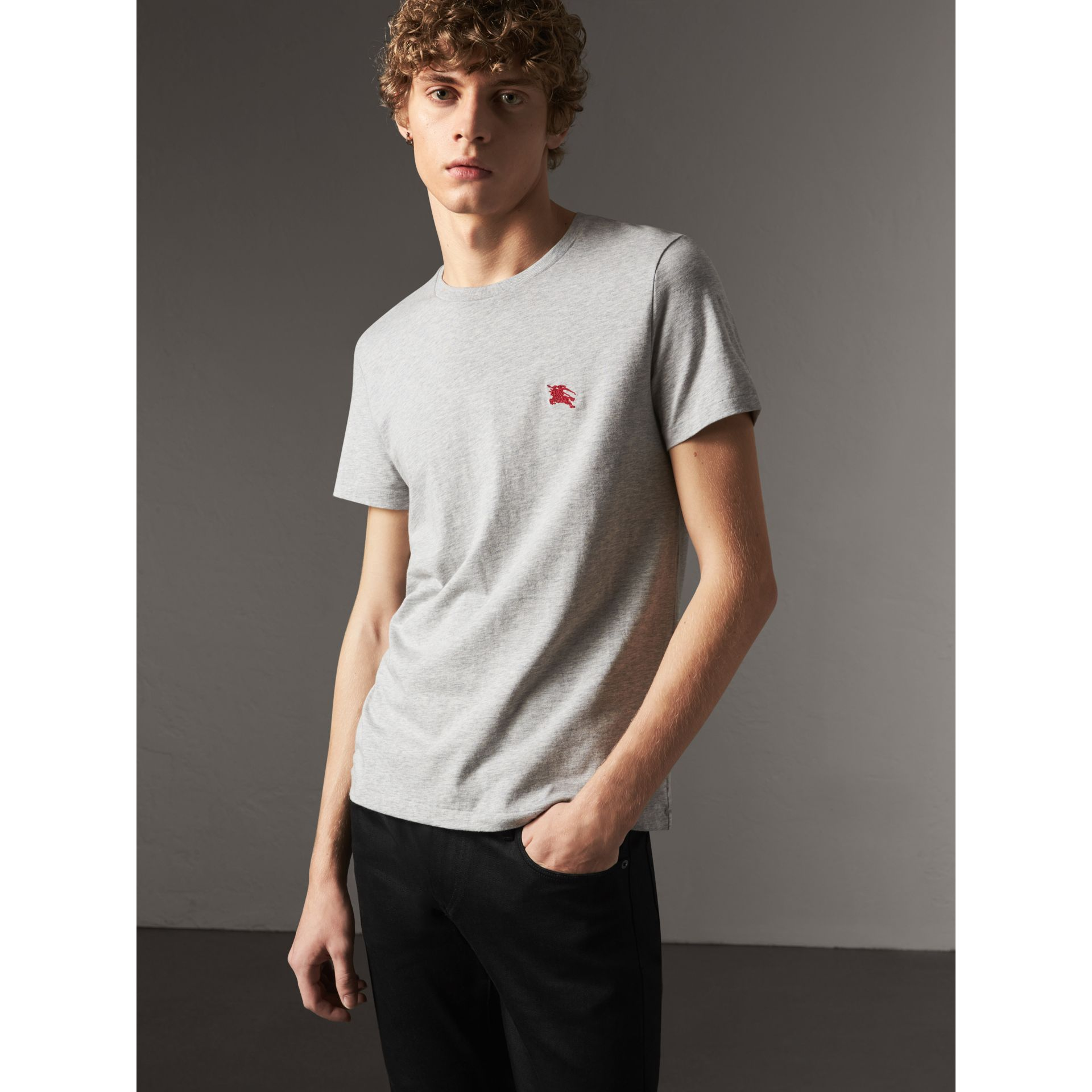 Cotton Jersey T-shirt in Pale Grey Melange - Men | Burberry - gallery image 0