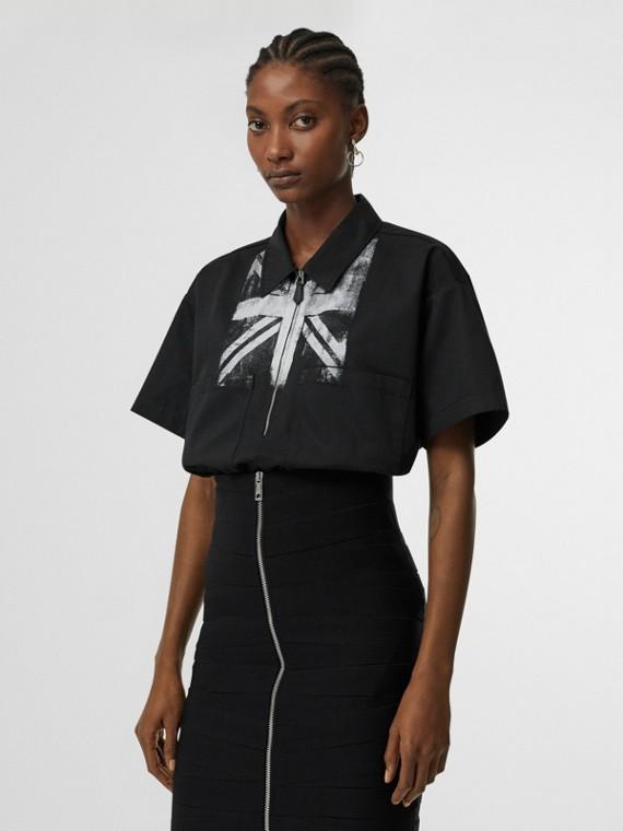 Camicia in cotone a maniche corte con stampa della bandiera inglese (Nero)