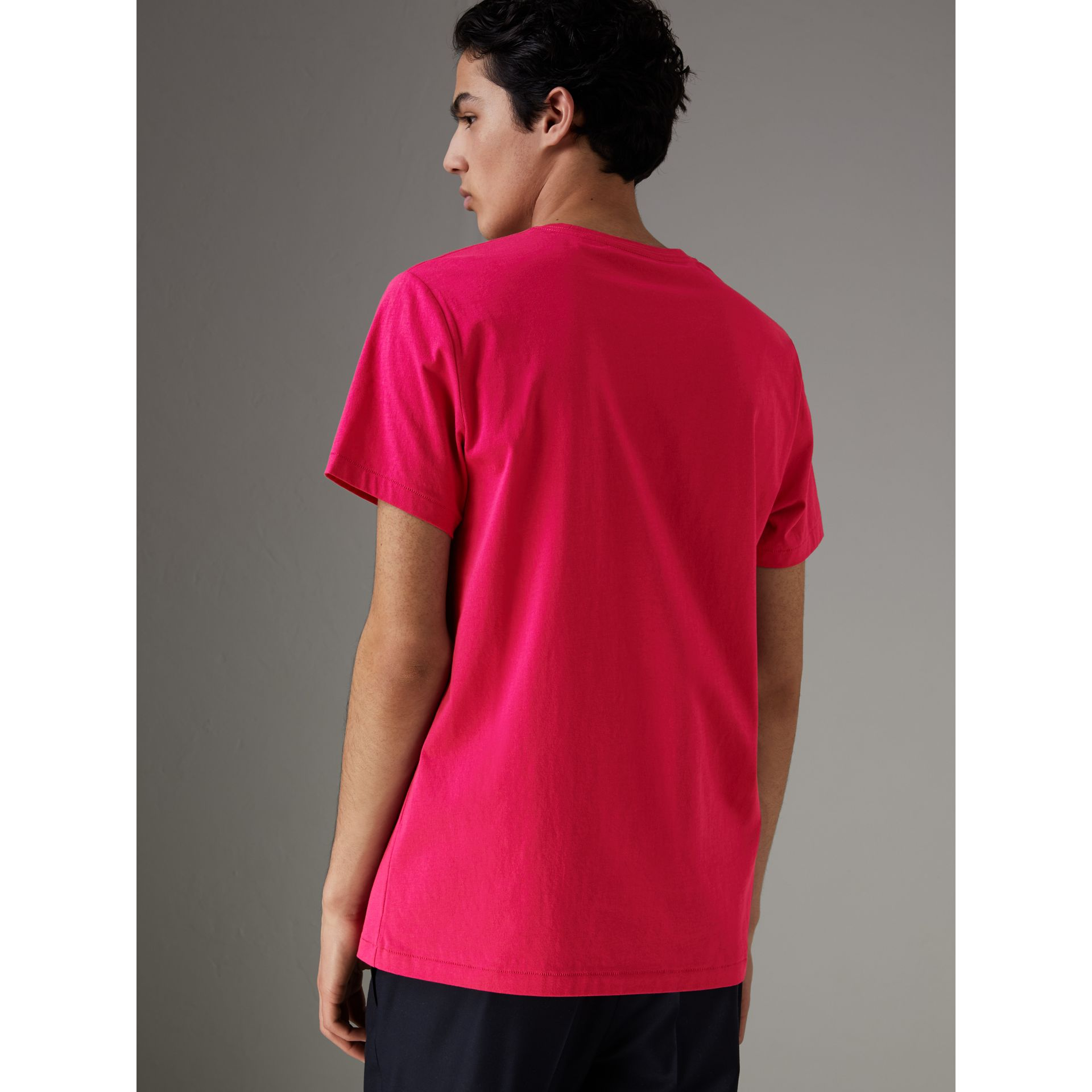 Cotton Jersey T-shirt in Bright Pink - Men | Burberry - gallery image 2