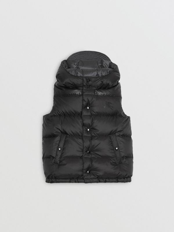 Reversible Showerproof Down-filled Hooded Gilet in Dark Grey | Burberry - cell image 3