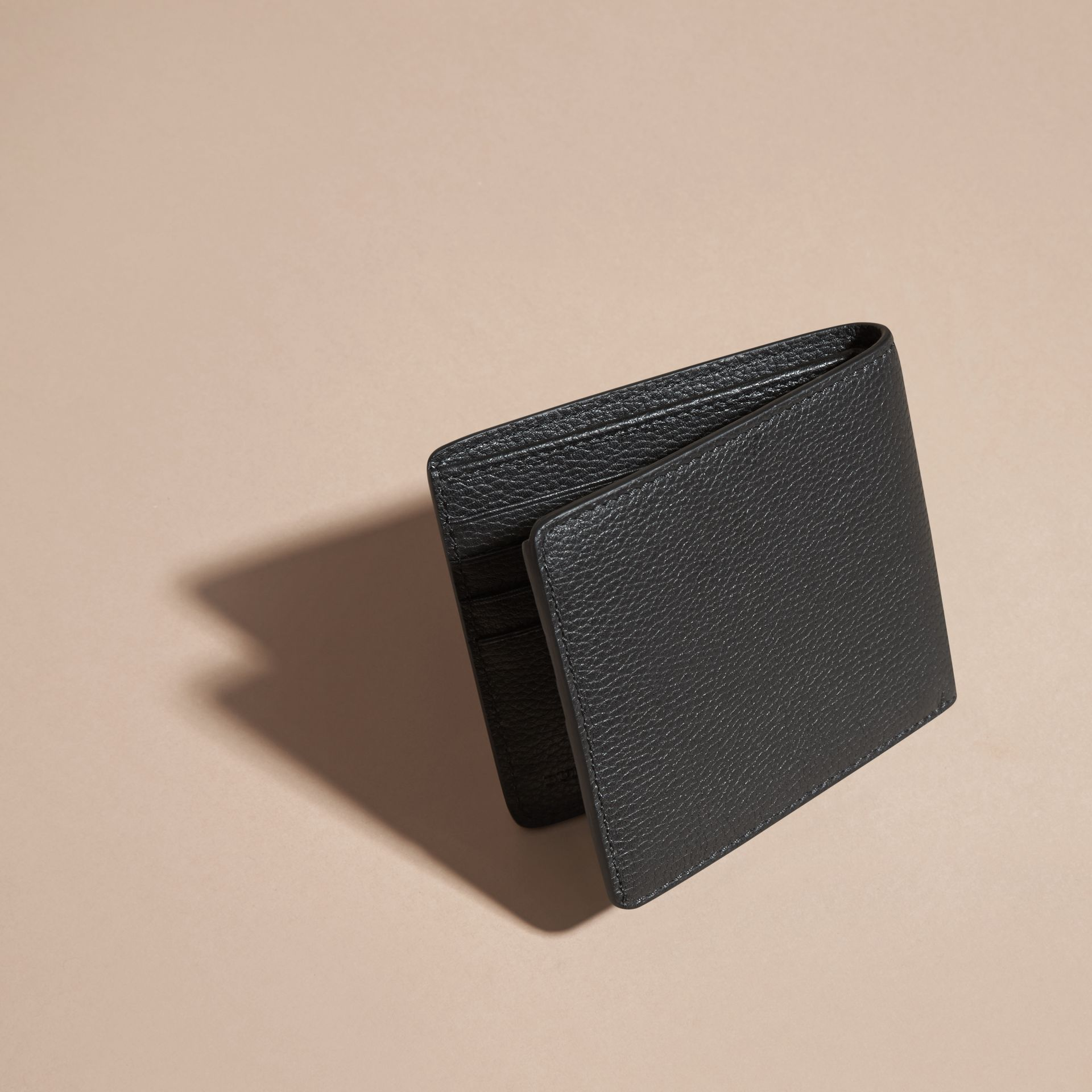 Black Leather Folding Wallet Black - gallery image 4