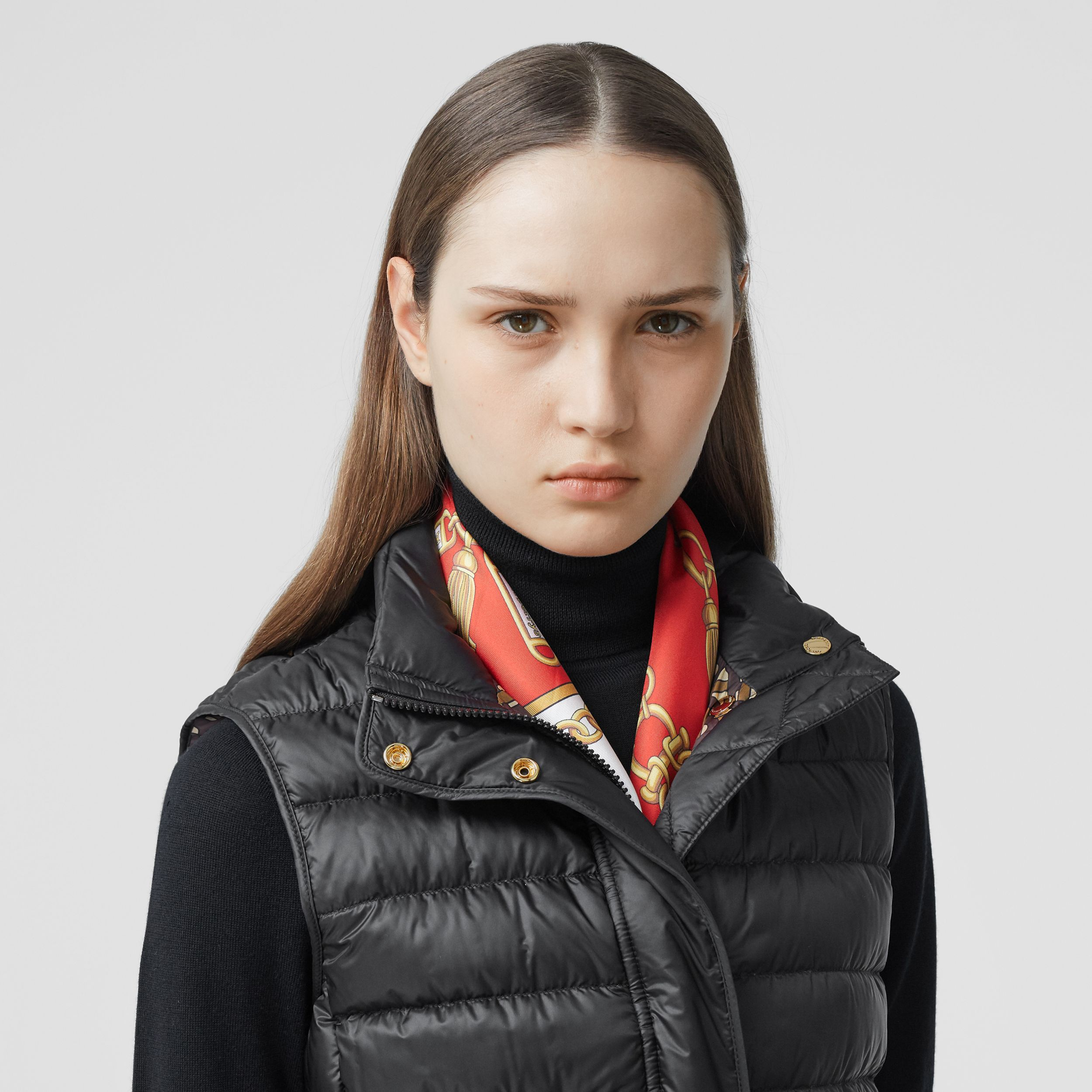 Monogram Print-lined Lightweight Puffer Gilet in Black - Women | Burberry - 2