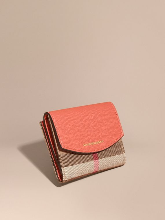 House Check and Leather Wallet in Cinnamon Red - Women | Burberry Australia