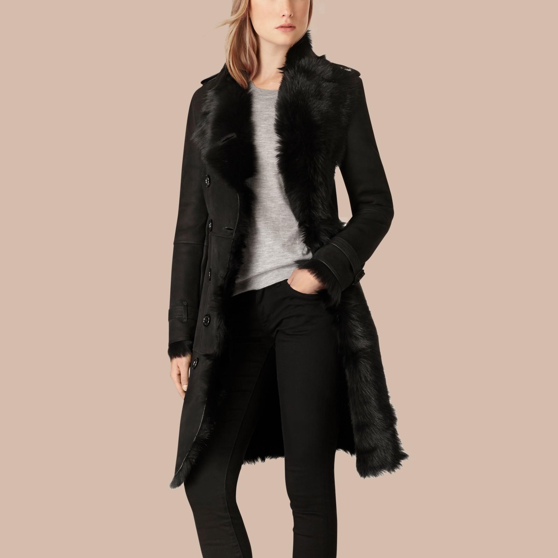 Noir Trench-coat en shearling Noir - photo de la galerie 3