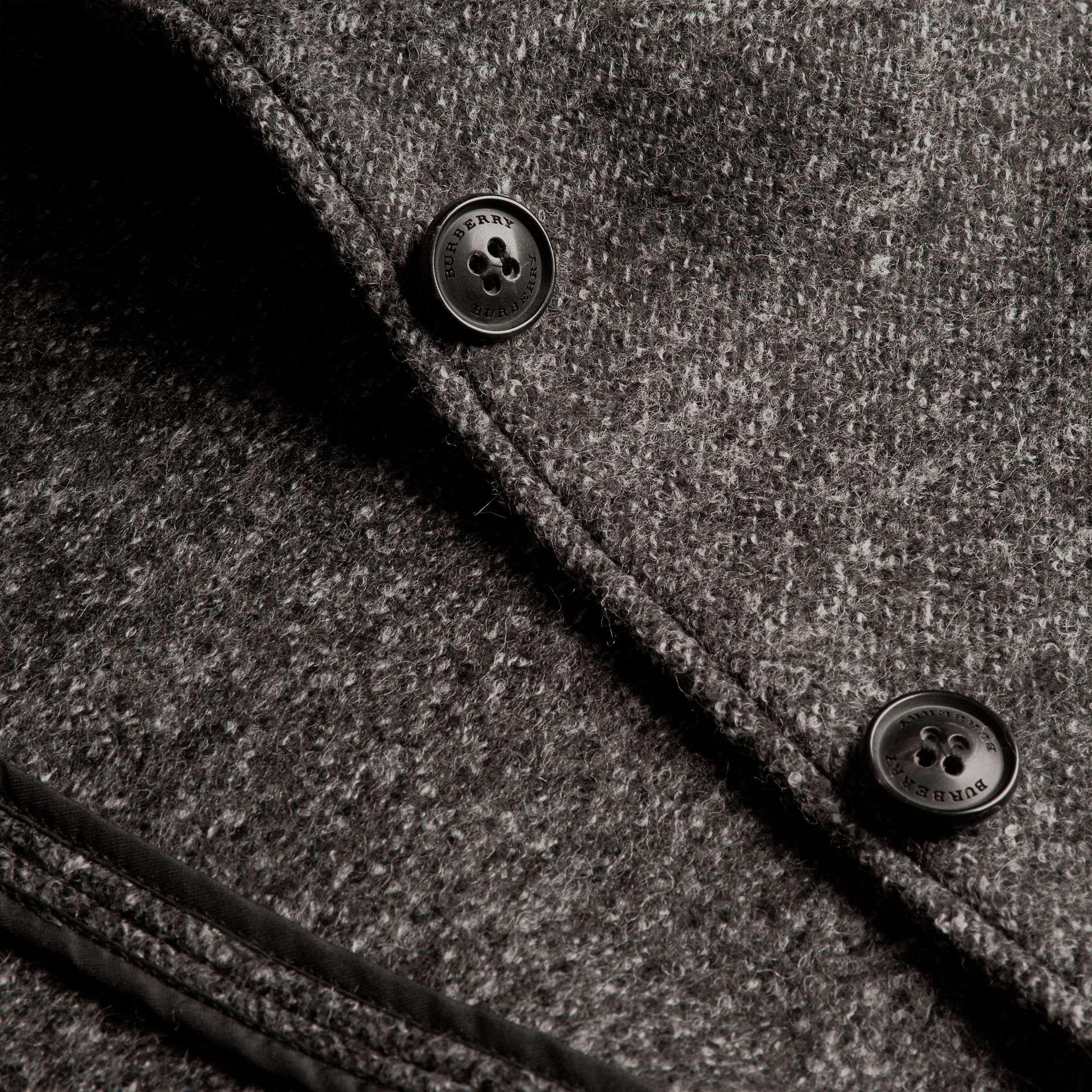 Mid grey melange Brushed Melange Wool Car Coat - gallery image 2