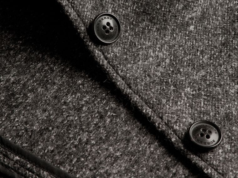 Mid grey melange Brushed Melange Wool Car Coat - cell image 1