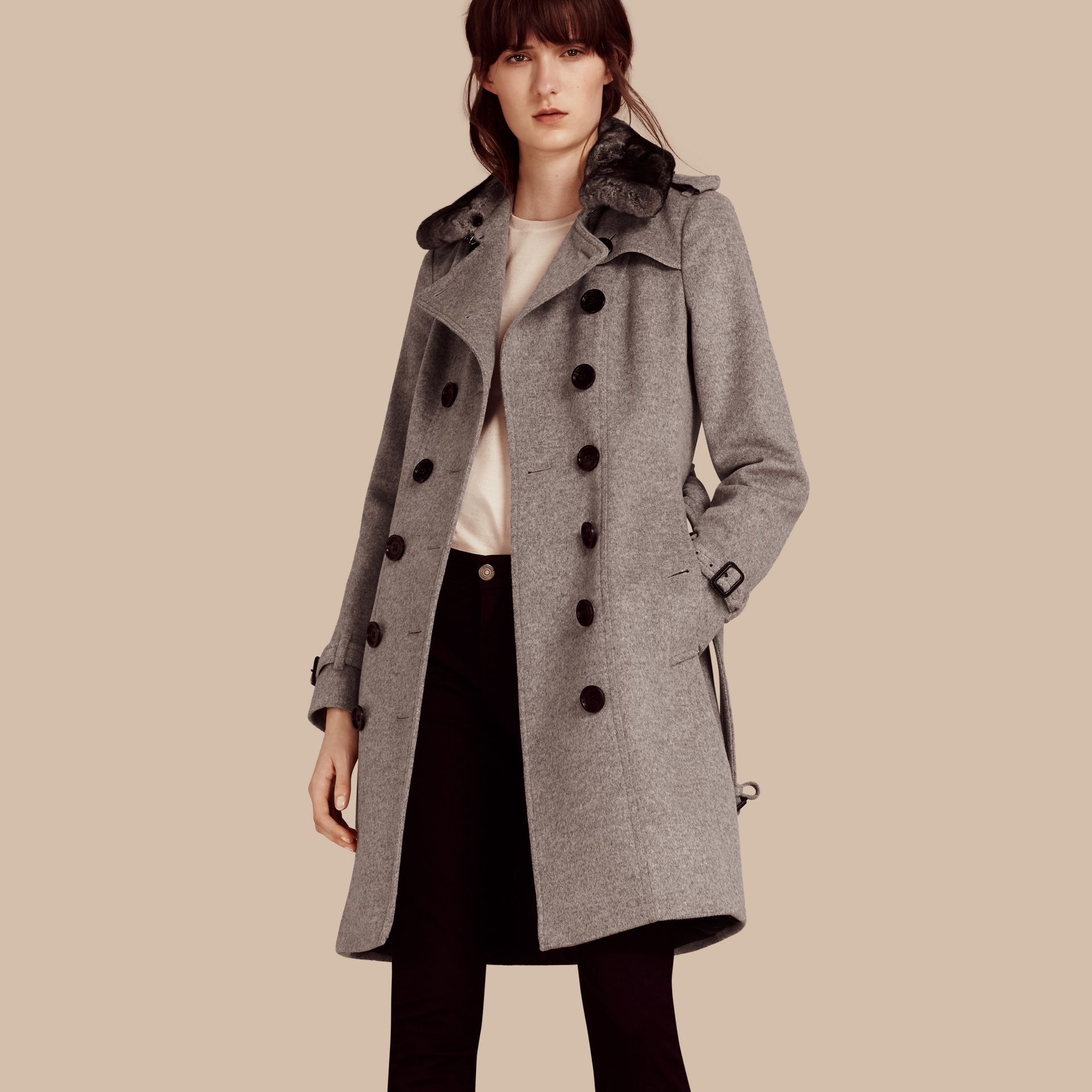 Pale grey melange Wool Cashmere Trench Coat with Fur Collar - gallery image 1