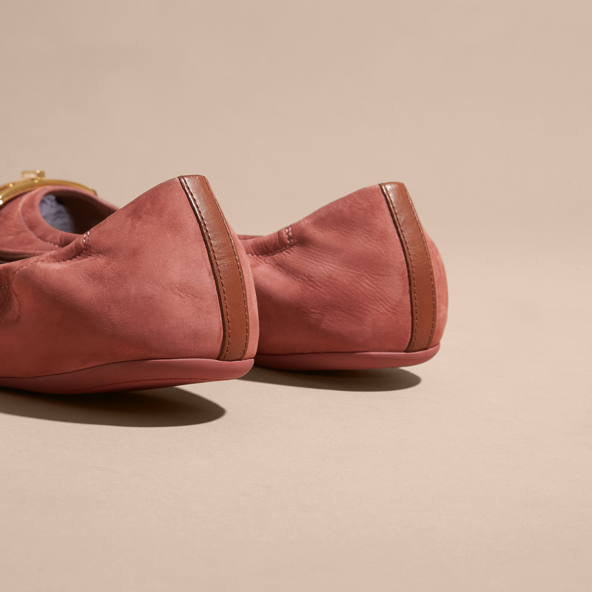 Antique pink Check Detail Suede Ballerinas - gallery image 4