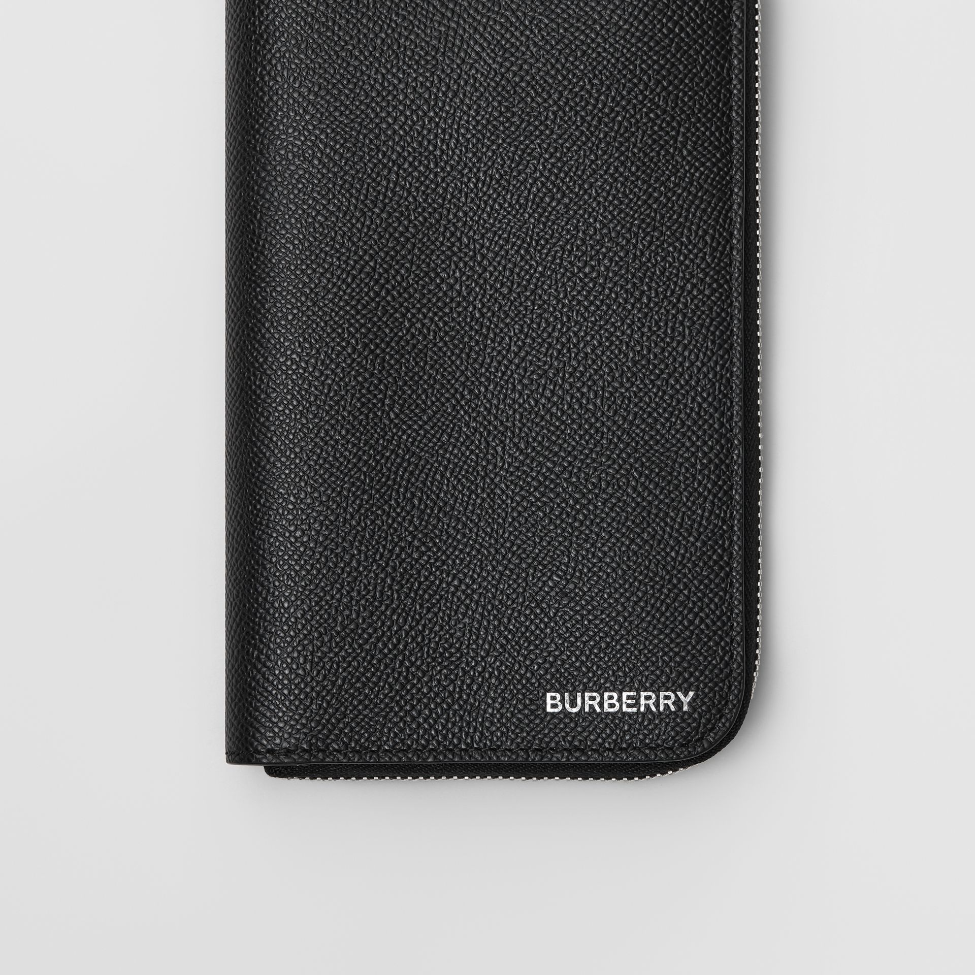 Grainy Leather Ziparound Wallet in Black - Men | Burberry - gallery image 1