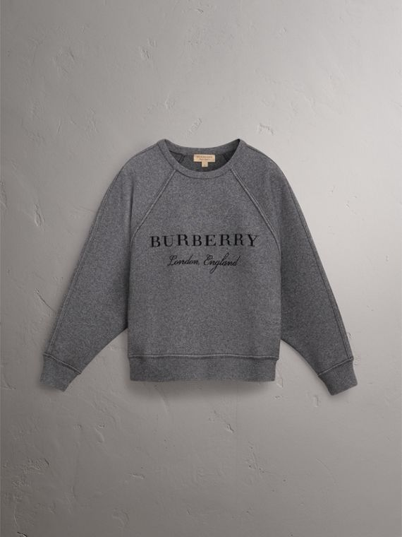 Topstitch Detail Wool Cashmere Blend Sweater in Mid Grey Melange - Women | Burberry - cell image 3