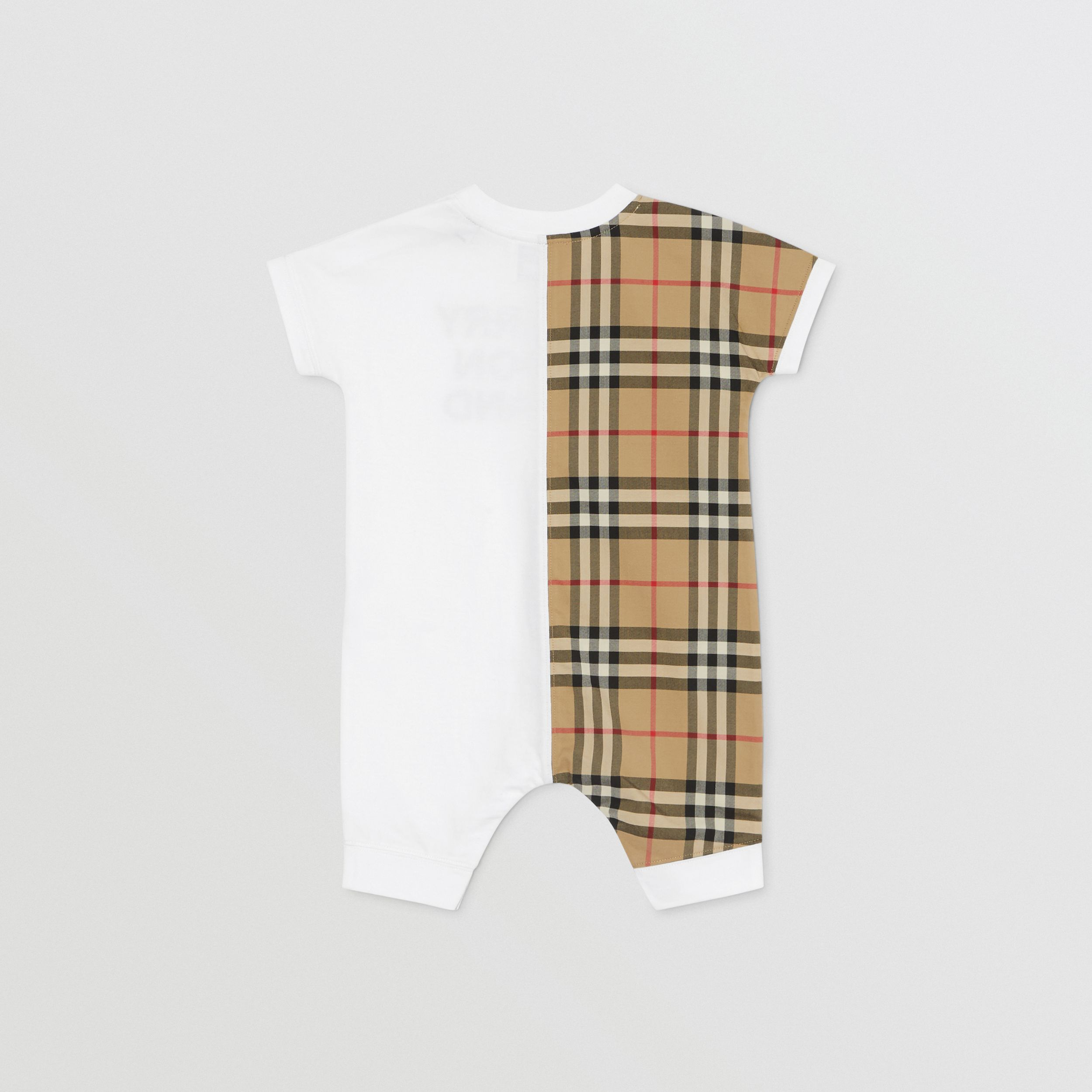 Vintage Check Panel Cotton Playsuit in White - Children | Burberry United Kingdom - 4