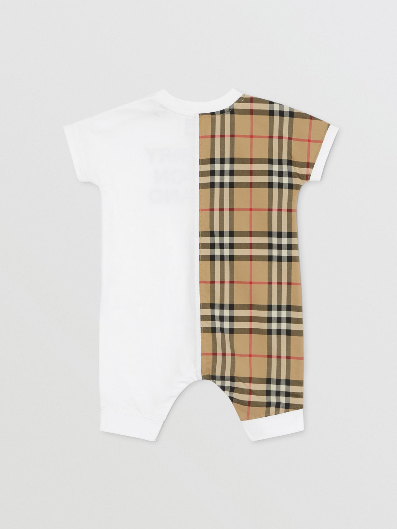 Vintage Check Panel Organic Cotton Playsuit (White)