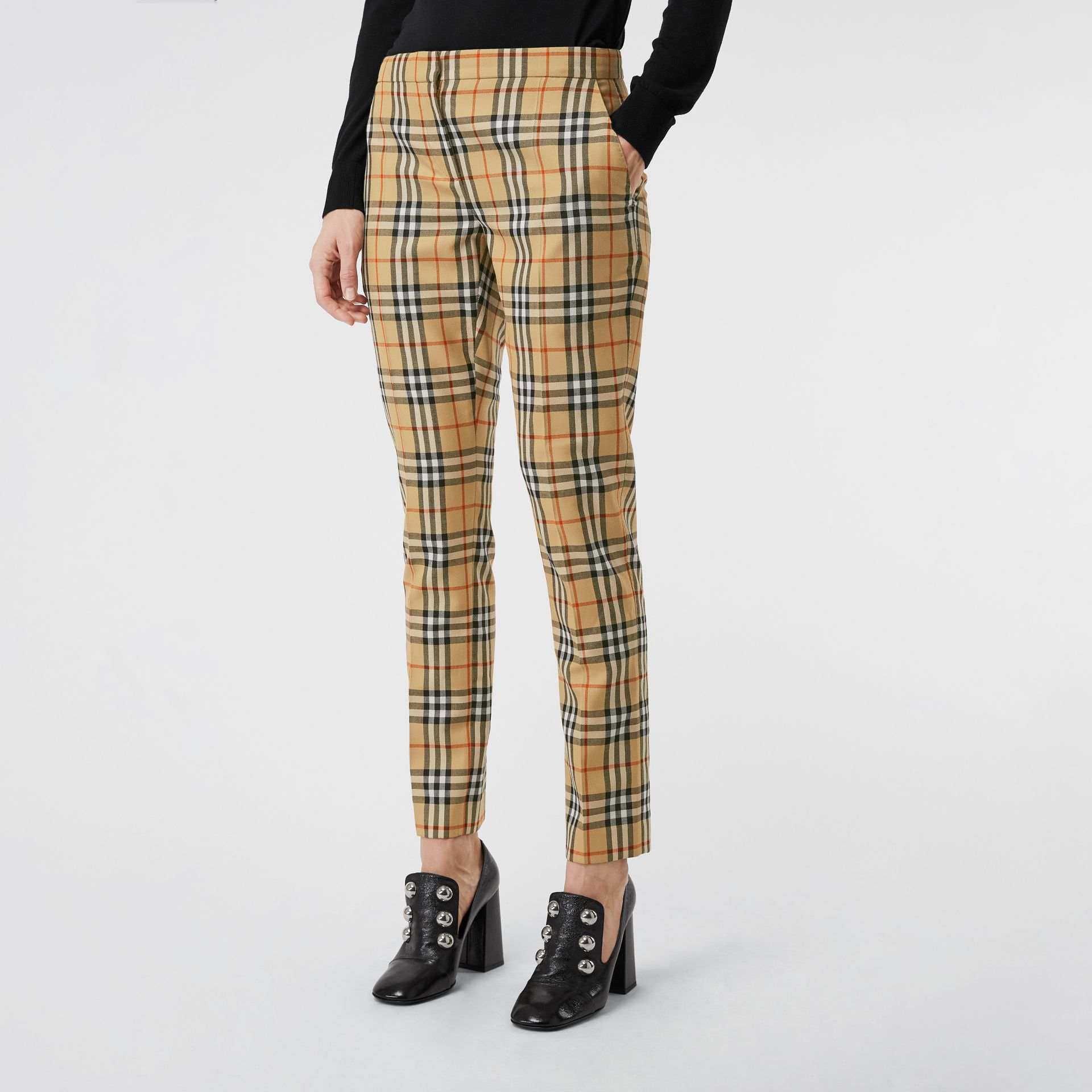 Vintage Check Wool Cigarette Trousers in Antique Yellow - Women | Burberry - gallery image 4