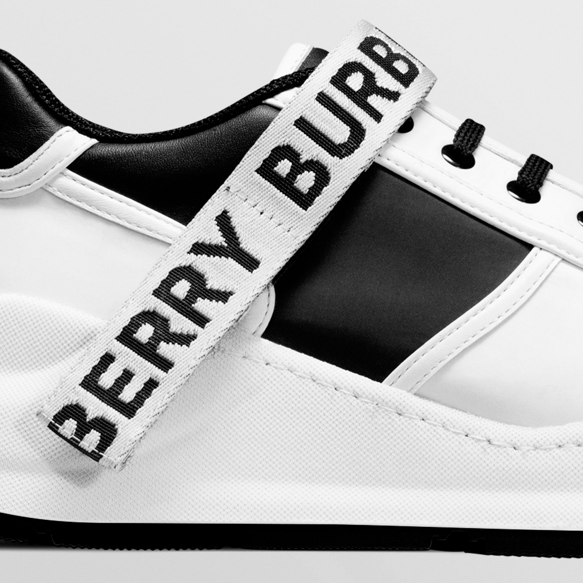 Logo Detail Leather and Nylon Sneakers in Black/optic White - Women | Burberry - gallery image 1