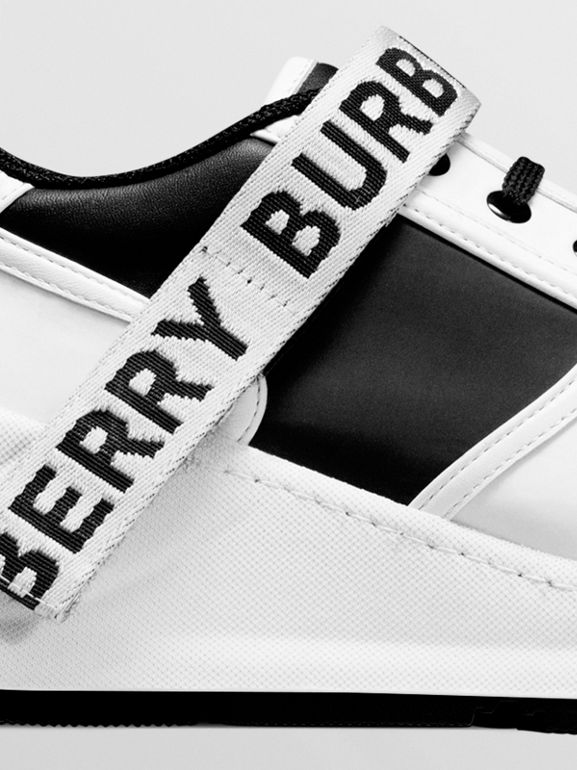 Logo Detail Leather and Nylon Sneakers in Black/optic White - Women | Burberry - cell image 1