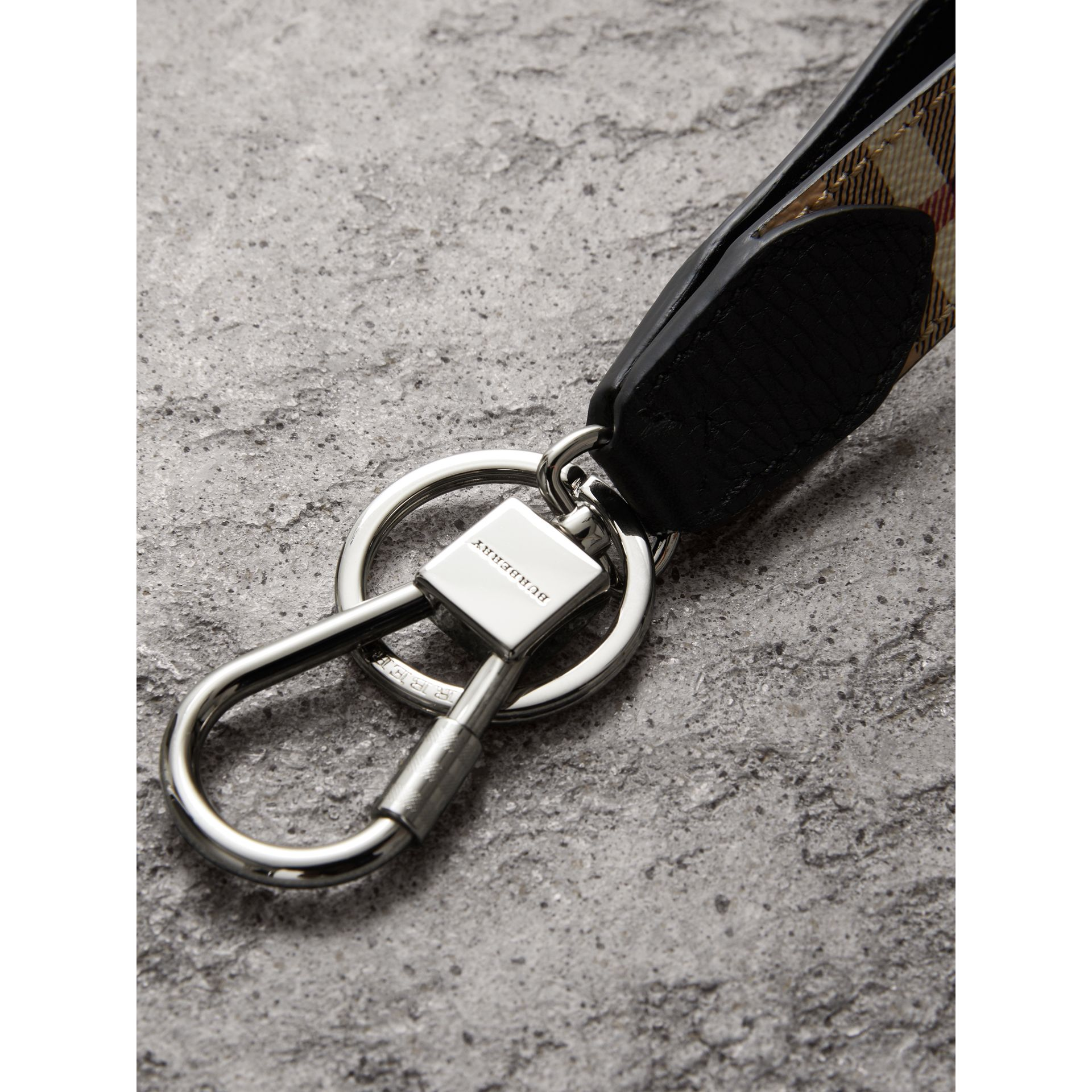 Haymarket Check and Leather Key Ring in Black - Men | Burberry United Kingdom - gallery image 2