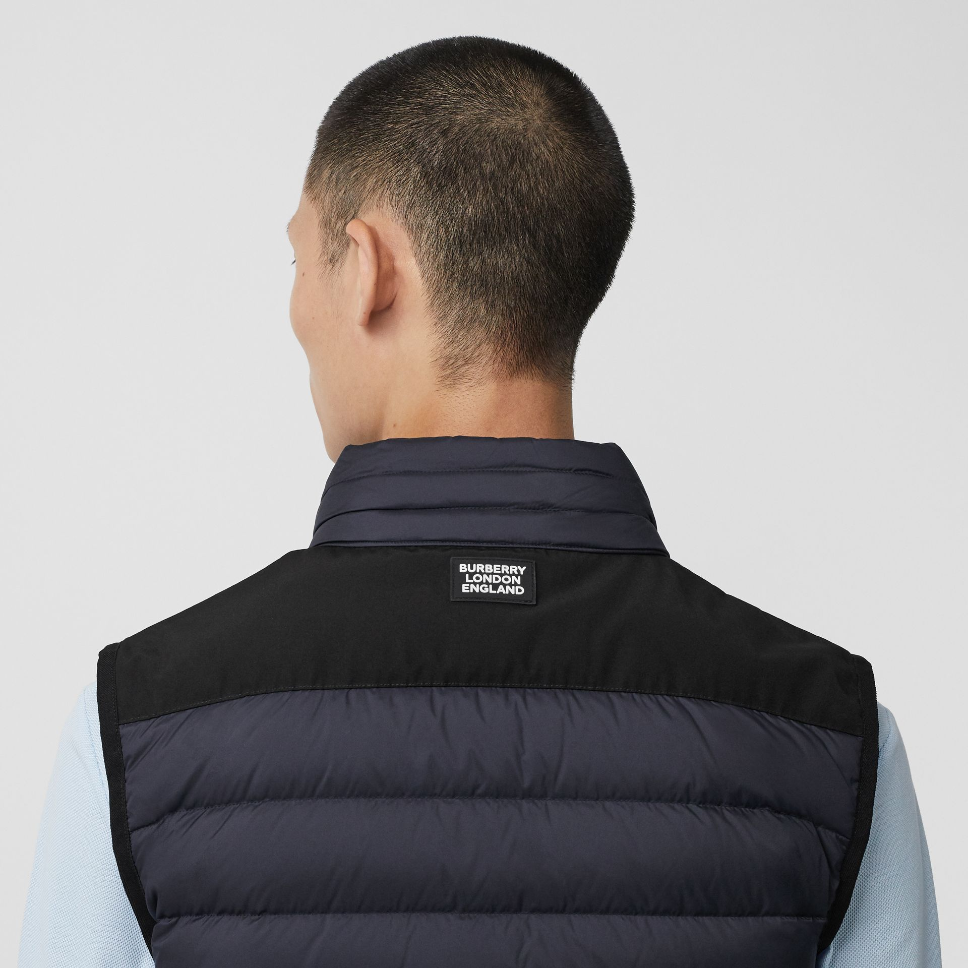 Logo Graphic Puffer Gilet in Navy - Men | Burberry - gallery image 1