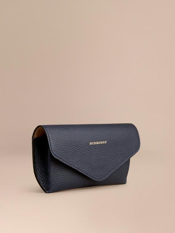 Grainy Leather Eyewear Case Bright Navy