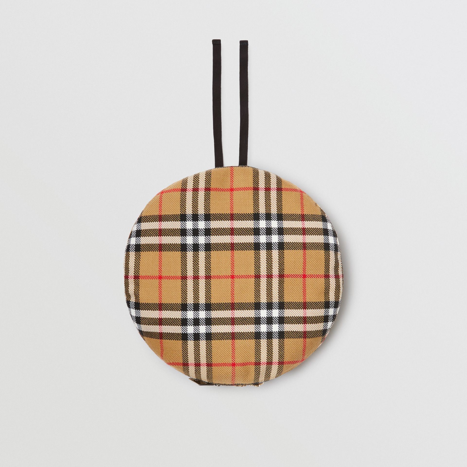 Pin Detail Vintage Check Wool Beret in Antique Yellow | Burberry Singapore - gallery image 0
