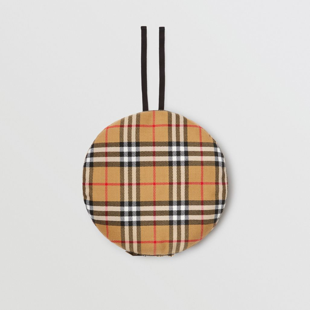 Burberry Pin Detail Vintage Check Wool Beret In Antique Yellow ... 064853b0022