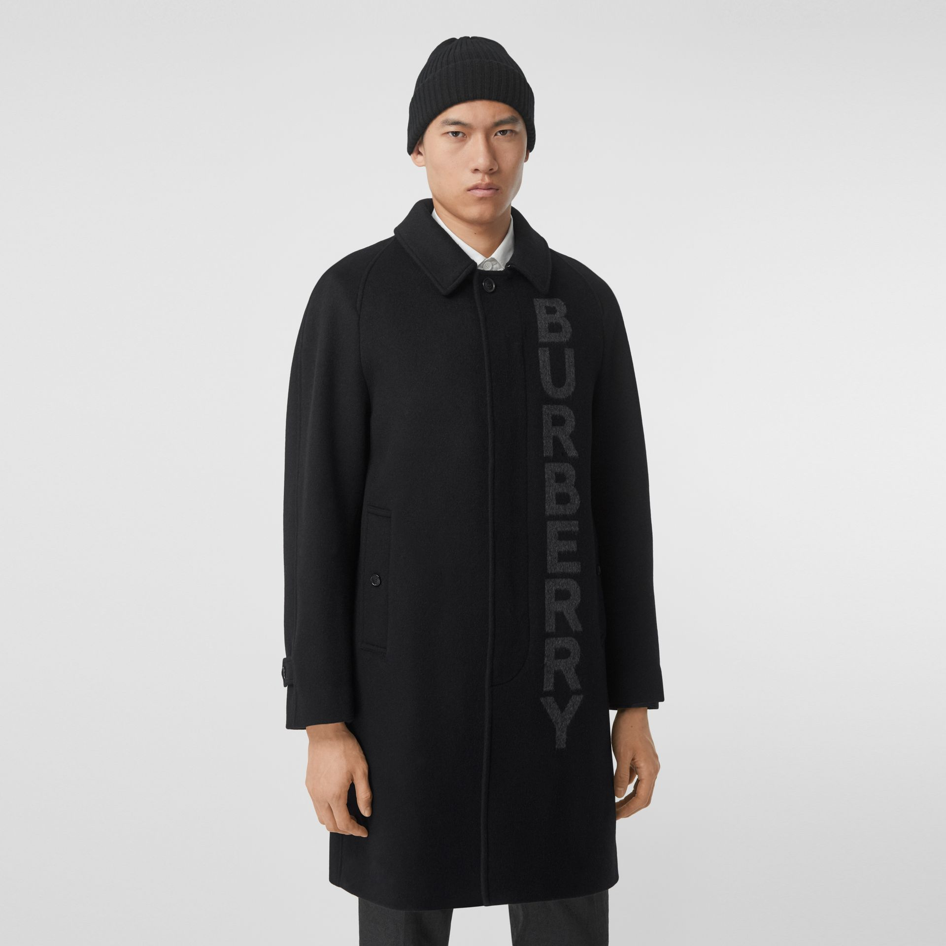 Logo Wool Cashmere Jacquard Car Coat in Black - Men | Burberry - gallery image 6