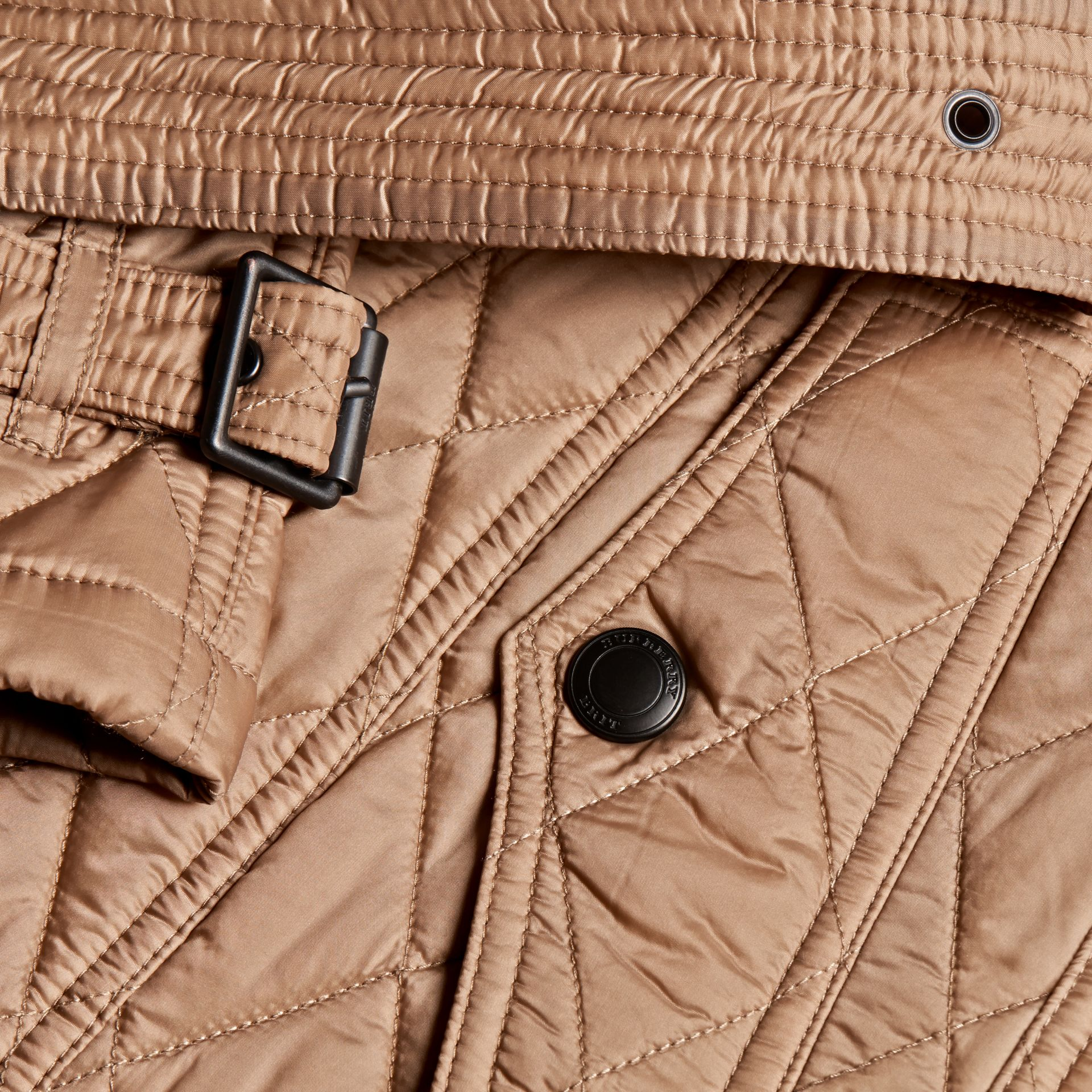 Quilted Trench Jacket with Detachable Hood Pale Fawn - gallery image 2