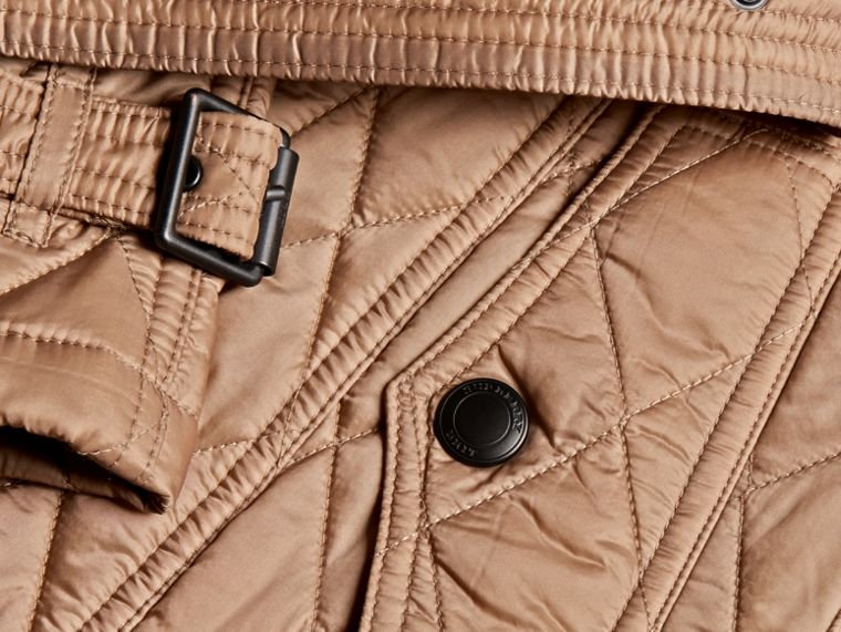 Quilted Trench Jacket with Detachable Hood in Pale Fawn - Women | Burberry Canada - cell image 1
