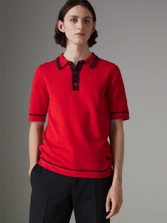 Tipped Cotton Jersey Polo Shirt in Bright Red