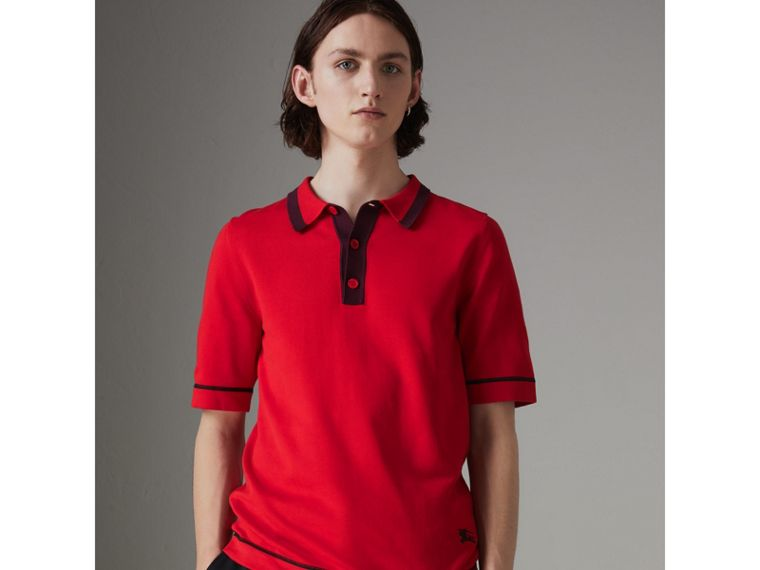 Tipped Cotton Jersey Polo Shirt in Bright Red - Men | Burberry - cell image 4
