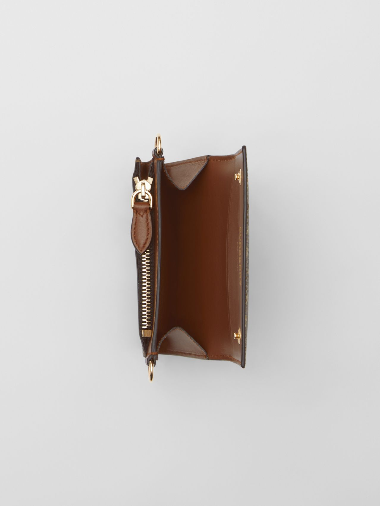 Small Monogram Print Wallet with Detachable Strap (Bridle Brown)