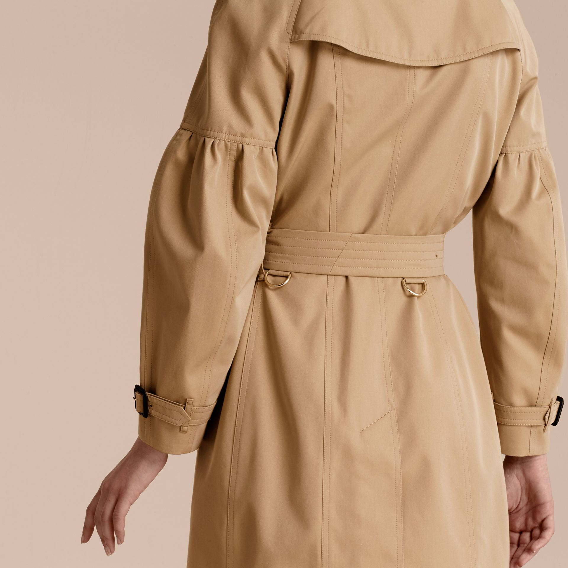 Honey Cotton Gabardine Trench Coat with Puff Sleeves Honey - gallery image 6